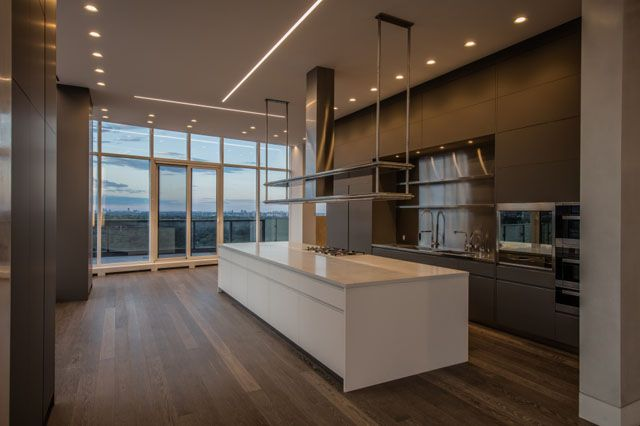 Custom kitchen imported from Italy featured in this Top Floor Luxury Penthouse of over 6000 square feet at the Florian Condos Victoria Boscariol Chestnut Park Real Estate