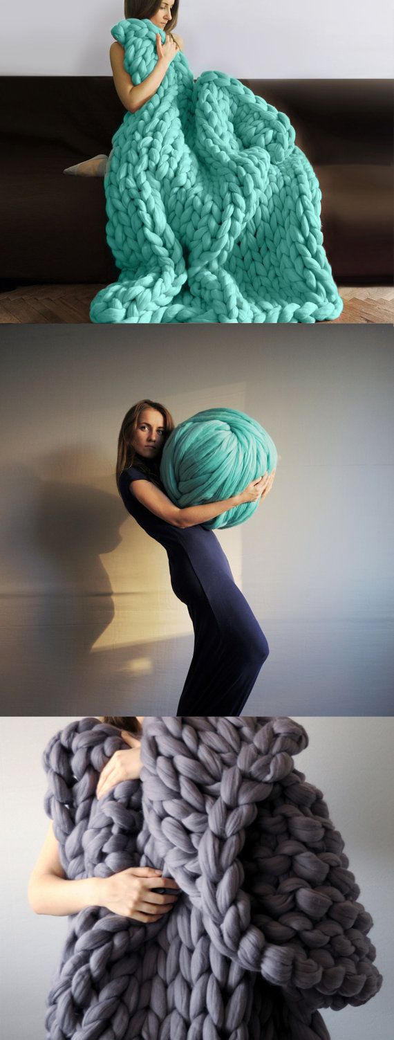Nouveau! maille de 3 pouces. Tricot géant. Convient pour le tricotage de bras. laine de mérinos 23 microns.  Jai toujours beaucoup de couleurs en stock.