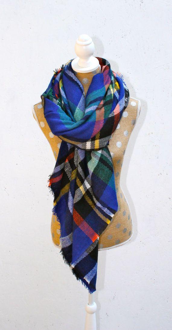 PRE SALE! Blue Plaid Blanket Scarf, Plaid Scarf, Oversized Scarf, Multi Colored Scarf, Knit Scarves, Zara Inspired