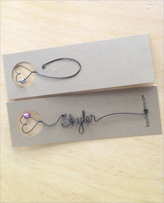 Favor de casamento personalizado Fio Bookmark nupcial por kraze4paper