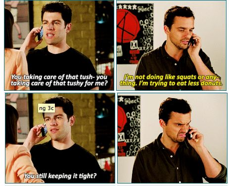 """New Girl - LOVED this scene! """"What it be, ma?"""""""