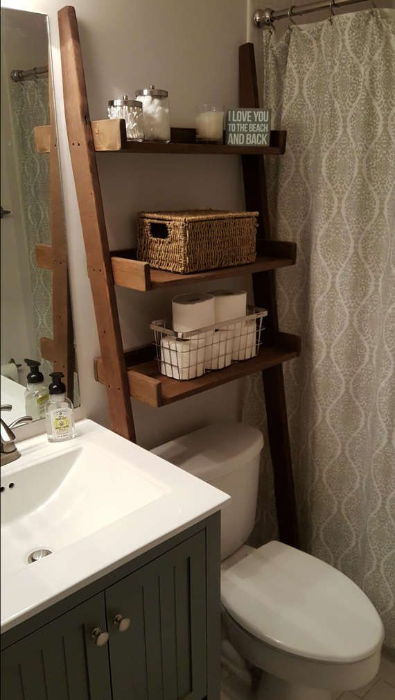 Over the toilet ladder shelf, bathroom storage, Leaning Ladder Shelf, Leaning ladder bookshelf, Wood Ladder Bathroom Spacesaver