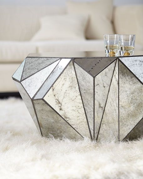 Dimensional Antiqued-Mirror Coffee Table - 370 Best Mirrored Furniture Images On Pinterest Amelie, Cat Cat