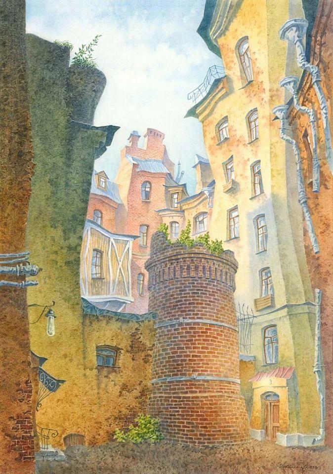Причудливый Петербург (Россия) глазами художника Владимира Колбасова