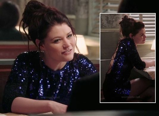 Belle's purple sequin dress on Once Upon a Time.  Outfit details: http://wornontv.net/14848/