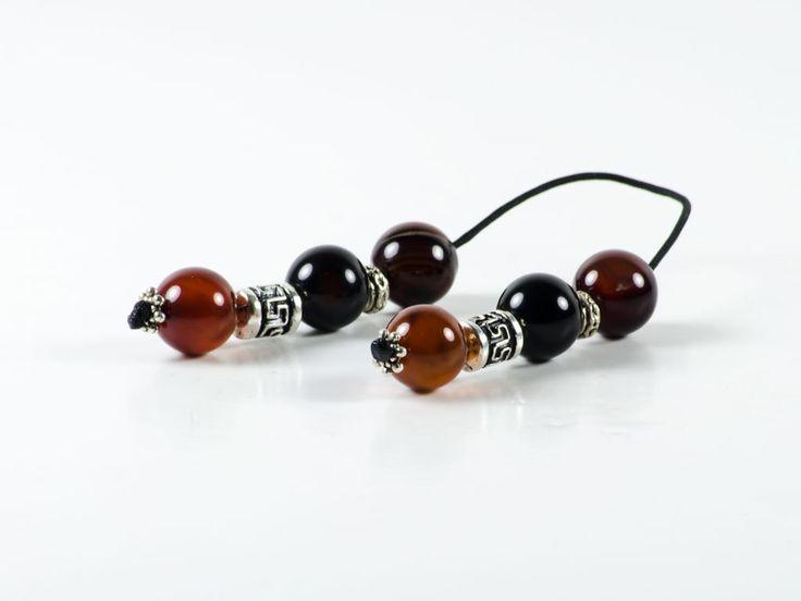 Carnelian Agate Gemstone Handmade Greek Begleri | St. Mary | 12x12mm | 6 Agate Beads | Greek Meander by TheBeadedGardencom on Etsy