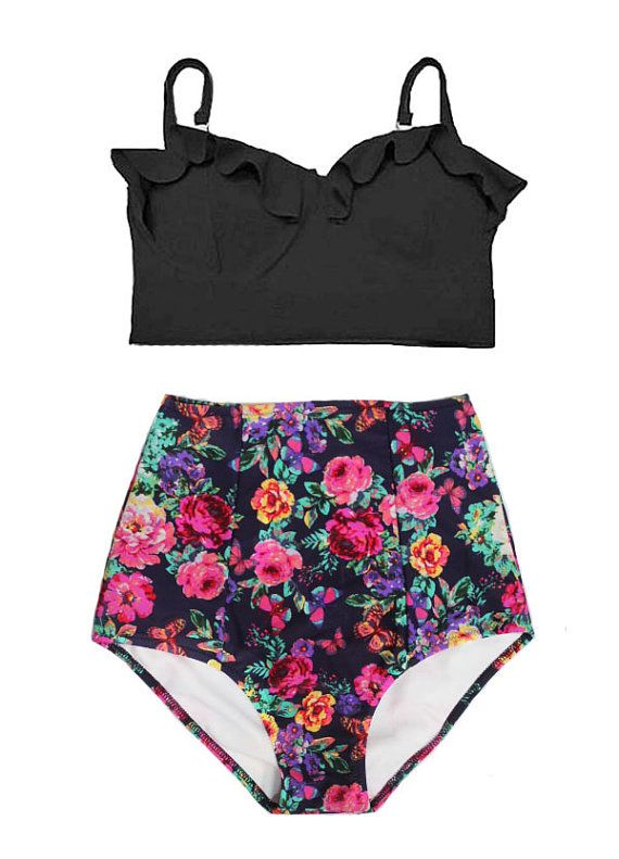 Black Midkini Top and Flora Floral Printed High by venderstore
