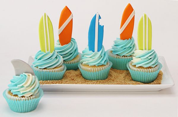 Surfboard Cupcake Toppers | Satin Ice