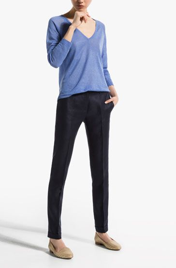 NAVY BLUE LINEN SUIT TROUSERS - View all - Trousers - WOMEN - Turkey
