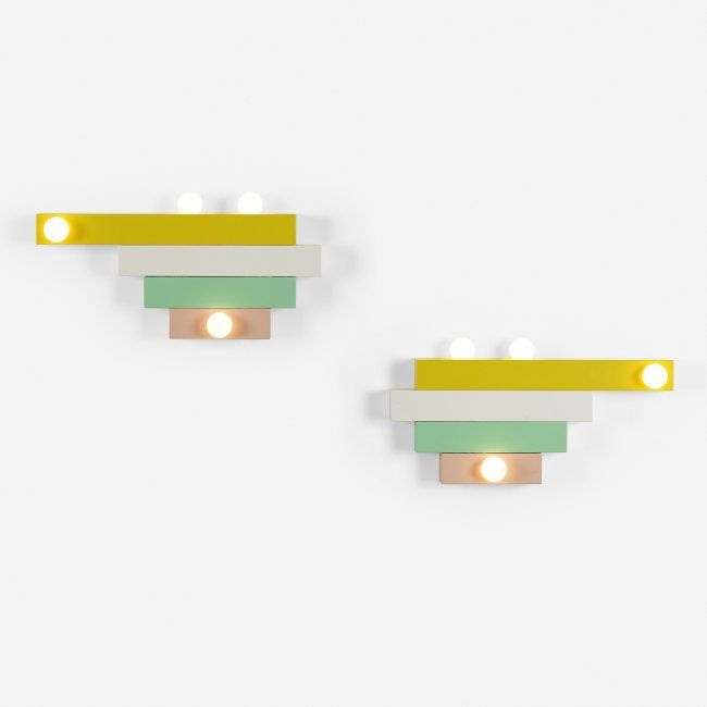 Ettore Sottsass Pair Of Custom Sconces From The Palevsky Residence, Malibu  Italy, C.