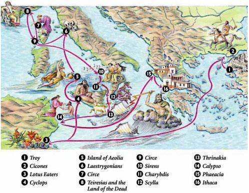 Cartina per ripassare Il viaggio di Ulisse