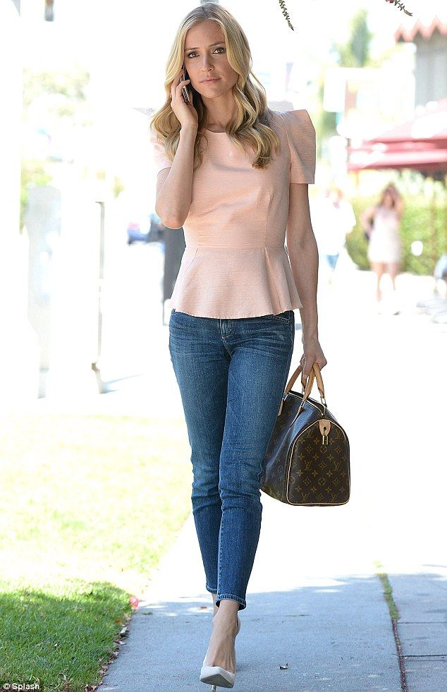 Earlier on Friday: Cavallari, who appeared on E! Fashion Police last month, changed into a pink peplum top, ankle-length skinny jeans, and white pumps