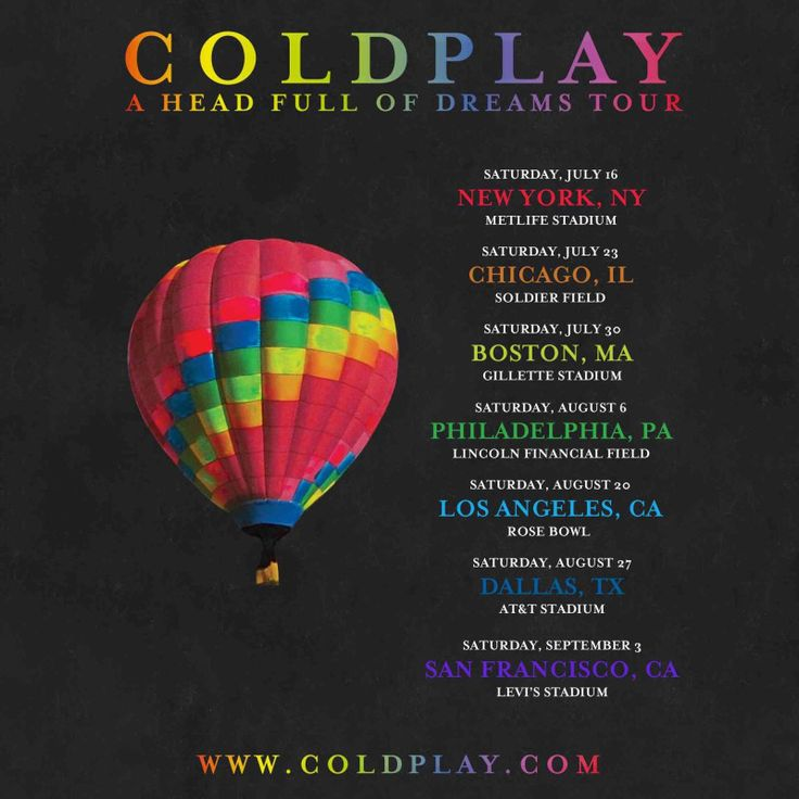 Image result for coldplay tour dates 2018
