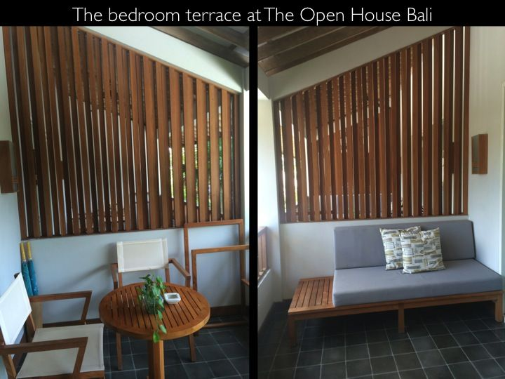 At The Open House Bali every bedroom has a lovely terrace overlooking the swimming pool/gardens with ceiling fan, lights, sofa with cushions and a dining table with stylish chairs.