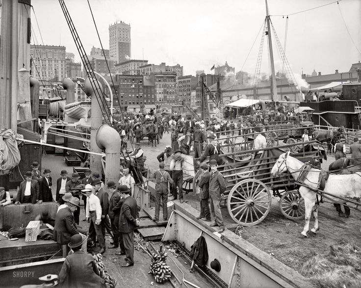 c1905 . A freighter unloading its cargo at a New York dock. The old slip piers just below Wall st, on East River used to be the Banana docks. The 60 Wall Street Building can be seen in the distance.
