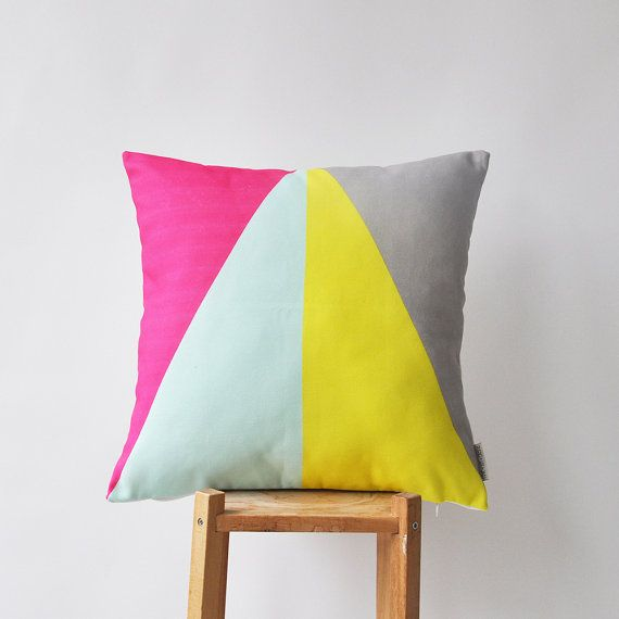 Modern decorative pillow cover with yellow, grey, hot pink & mint triangles This beautiful pillow cover will make a perfect gift, as well as a