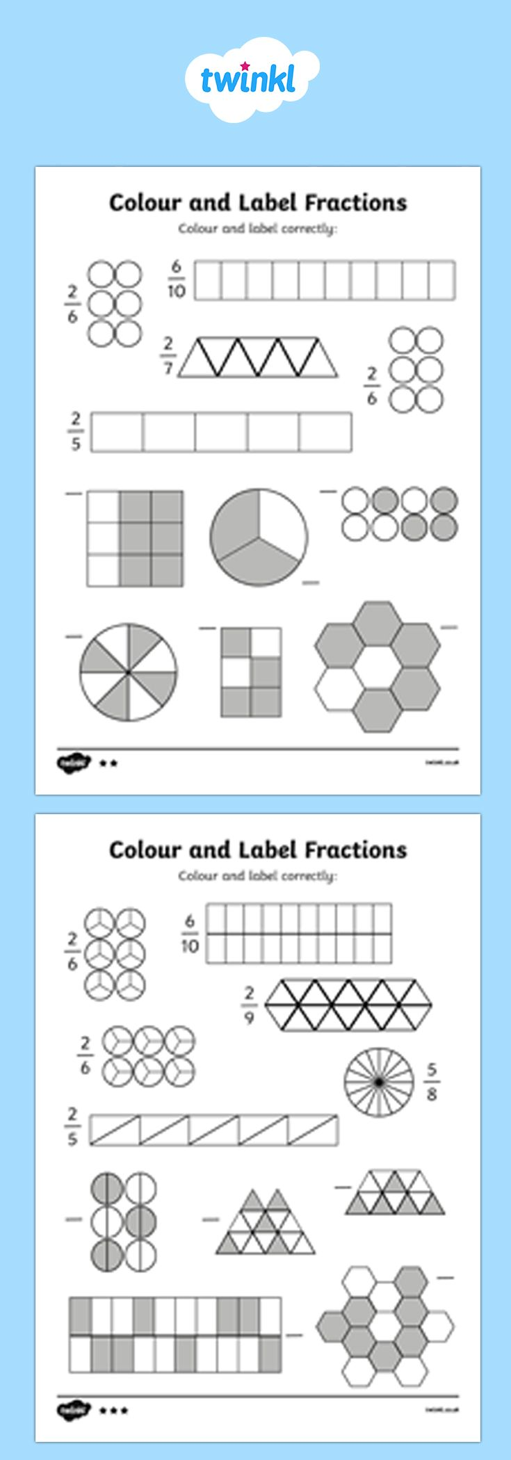 Shading Fractions Worksheet Pack Fractions Worksheets Shading Fractions Fractions Twinkl adding digit numbers with