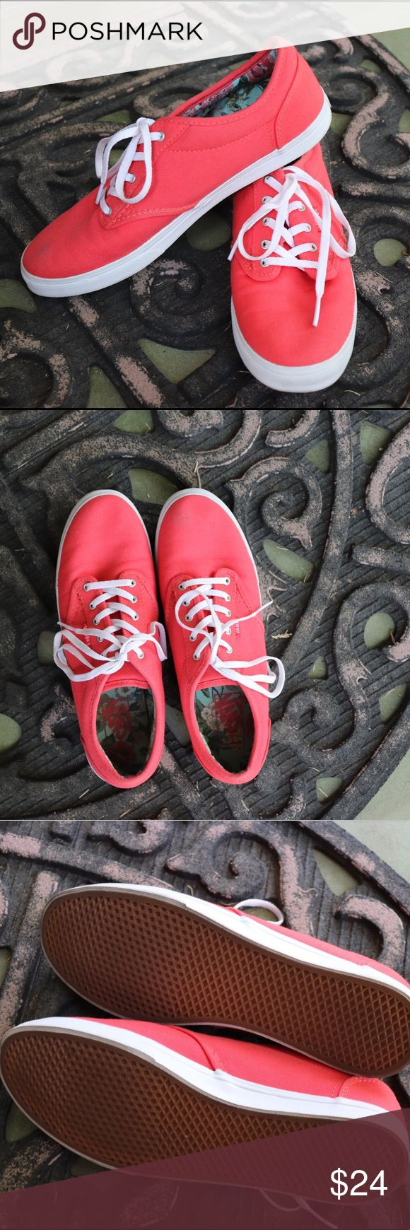 {Vans} Atwood Low Canvas Shoe Bright shoes add fun to any outfit, and these coral vans are perfect classics for everyday wear! Double stitched canvas, metal eyelets, and signature rubber waffle outsoles ensure these vans are quality, and will last a long time!  Small dirt stain on exterior of right shoe, could probably come out in the washing machine. Vans Shoes Sneakers