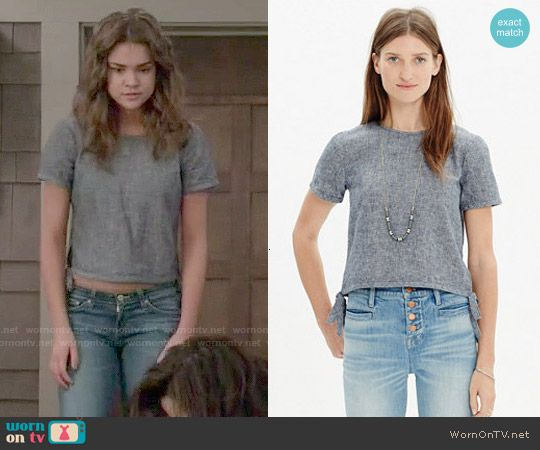Callie's grey top with tied sides on The Fosters. Outfit Details: http://wornontv.net/51176/ #TheFosters