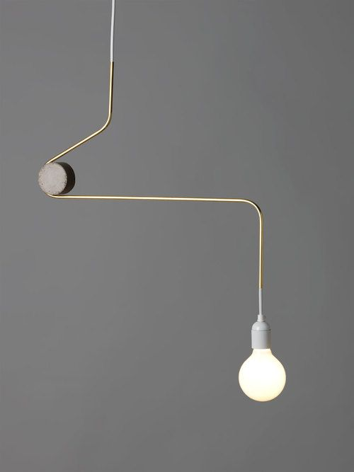 minimal lighting. kink light wire brass and concrete in perfect balance lighting beleuchtung luminaires minimal c
