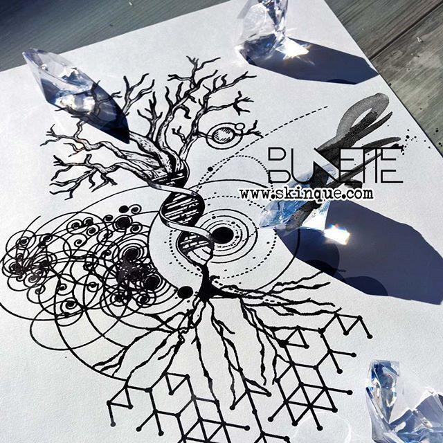 Available at skinque.com/basic  #treetattoo #tree #science #sciencetattoo #galaxy #galaxytattoo #artwork #design #art #tattooinspiration #tattoo #tattooidea #tattoo #space #abstract #abstractart #abstracttattoo #bunette #dna #dnatattoo