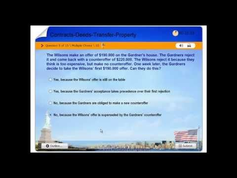Real Estate License - Practice Exam #4 - Contracts, Deeds, Transfer of Property - Free Test - USA