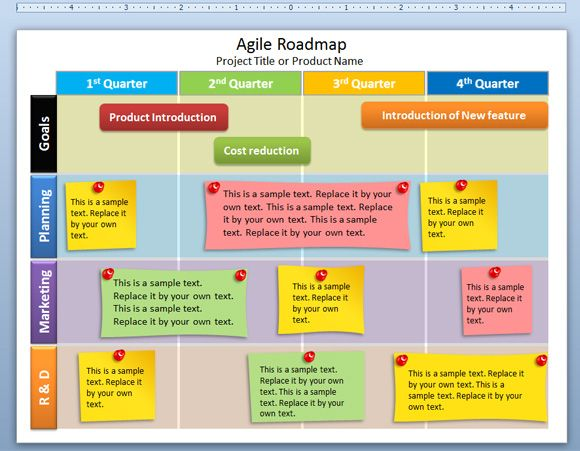 Agile Roadmap PowerPoint Template is a free editable template for Microsoft PowerPoint and project planners that you can download if you are using agile methodologies in your organization