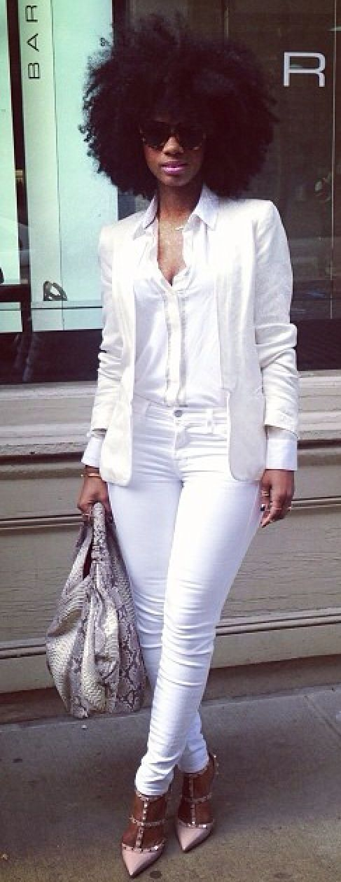 {Grow Lust Worthy Hair FASTER Naturally}>>> www.HairTriggerr.com <<< She is WORKING this White Outfit with her Big Curly Fro! <3