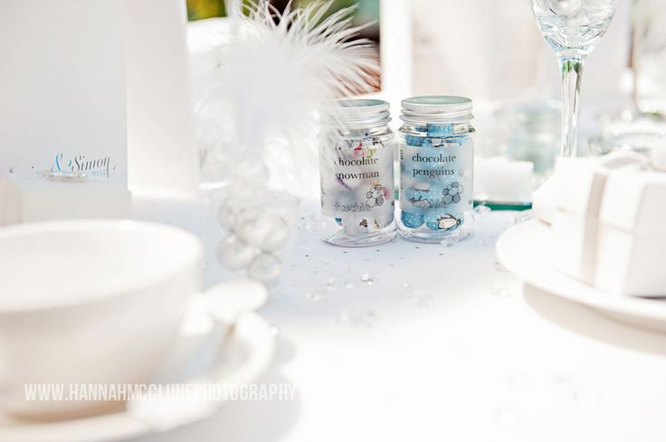 The finer details for your guests tables for a winter wonderland wedding by www.fuschiadesigns.co.uk.