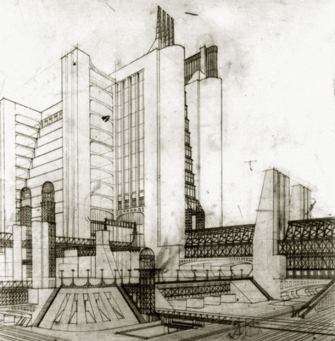 architectural drawings by Antonio Sant'Elia: