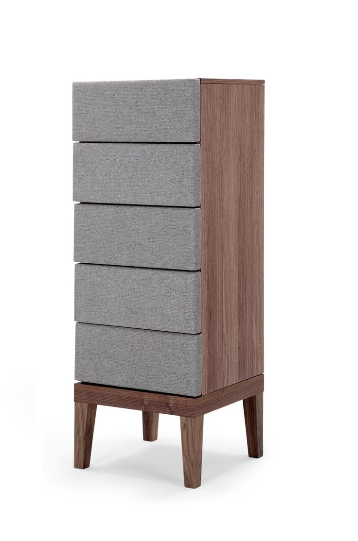 The Lansdowne Upholstered Tall Chest in Walnut and Heron Grey. Secret Storage. £399. MADE.COM