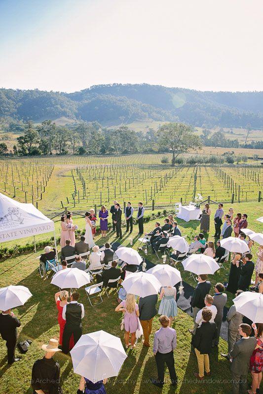Brids eye view of Jess and Justin's Sarabah Estate Vineyard wedding ceremony