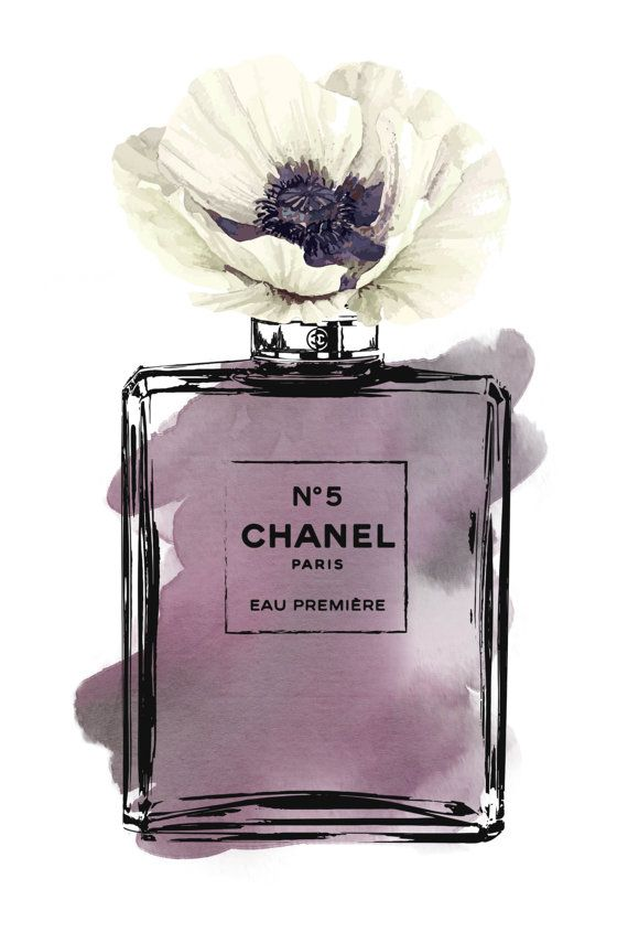 Chanel No5 Printed fashion poster watercolor purple by hellomrmoon