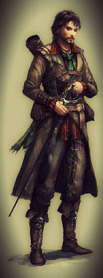 Human Rogue Traveler - Pathfinder PFRPG DND D&D d20 fantasy