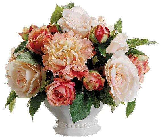 Silk pêssego e coral peônias Arranjo Centro de Mesa - Grande Wedding Rosas Tulipas Faux Home Decor Artificial