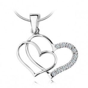 Srebrny wisiorek serca z cyrkonią - Biżuteria srebrna dla każdego tania w sklepie internetowym Silvea