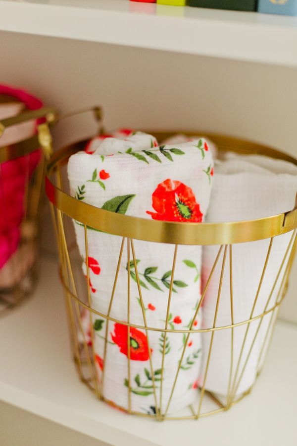 Gold H&M Home Baskets for Storing Blankies - perfect addition to the nursery shelf!