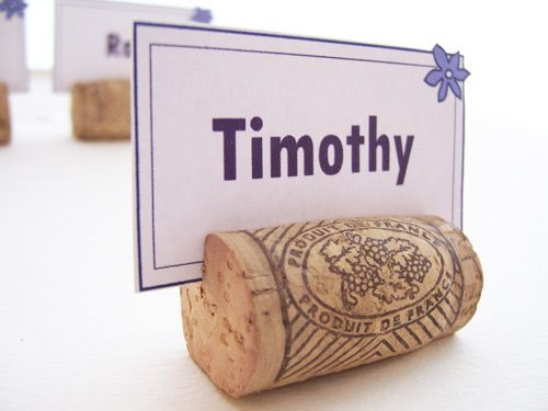 Corks as place card holders