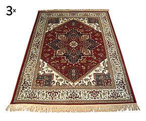 Parure di 3 tappeti in viscosa Heriz rosso - max 80x150 cm
