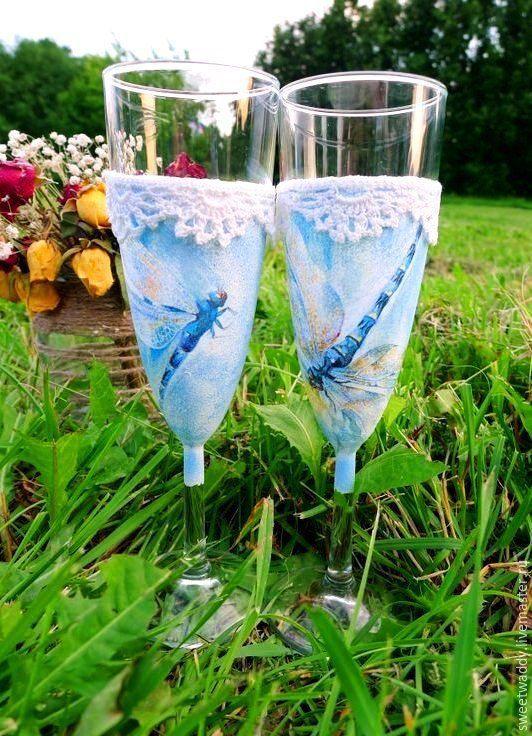 """Купить Свадебные бокалы """"Стрекоза любви"""" - темно-бирюзовый, прованс, свадебные бокалы, бокалы для свадьбы"""