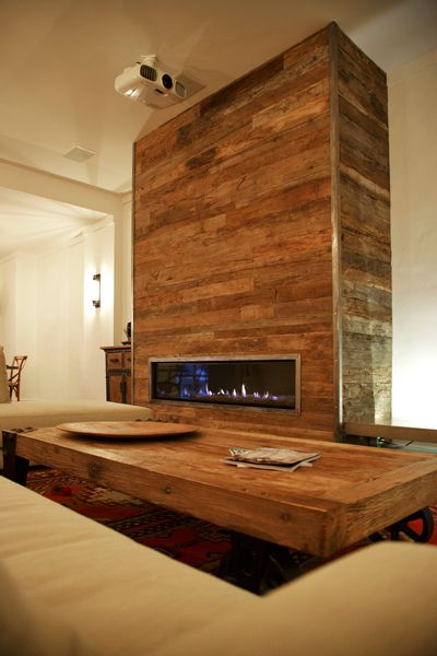 Fireplace And Living Room Featuring Recycled French Oak
