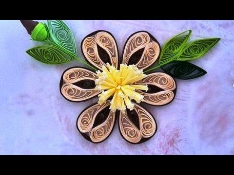 Paper Quilling  How to make Beautiful Quilling Brown//I White Flower Qui...