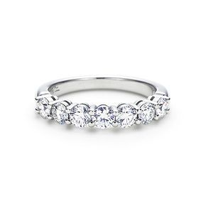 Dream wedding band! Shared-setting band half circle ring with diamonds in platinum, 3.5mm wide.