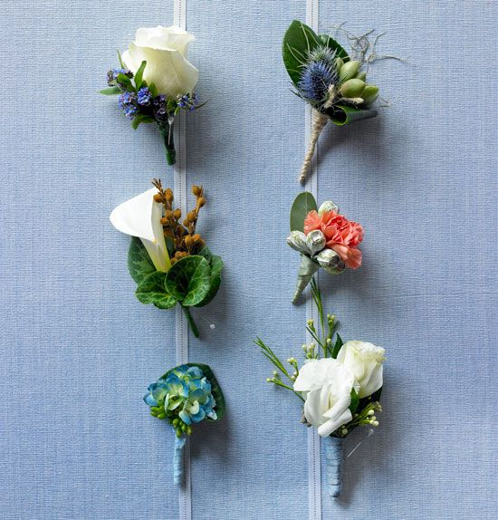 Floral inspiration -  Wedding Boutonnieres :  Clockwise from top R: White House Flowers buttonhole of sea holly,mini echeveria succulent & Spanish moss. Carla Florist buttonhole of carnation & silver tetra nut. Portobello Rose buttonhole of lisianthus & Geraldton wax. Susan Avery Flowers & Event Styling buttonhole of hydrangea,cyclamen leaf & jelly bean succulent. PoHo buttonhole of calla lily,pelargonium bud & ivy foliage. Mandalay Flowers buttonhole of 'Blizzard' Colombian rose…