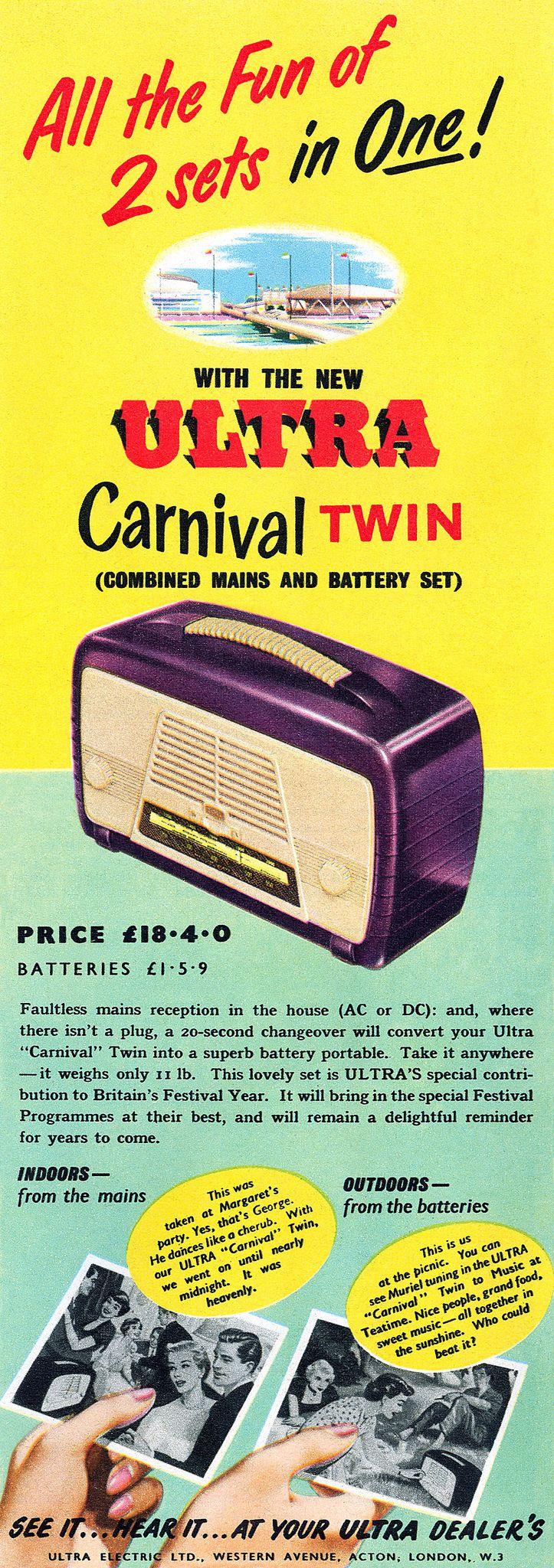 1951 Ultra Carnival Twin Radio ad, UK   Hi-Fi Heaven ...