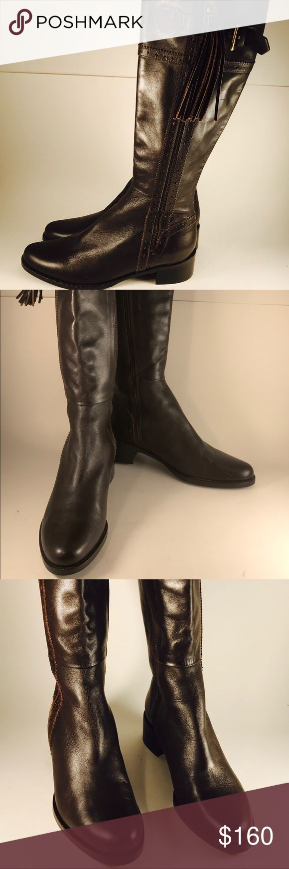 "L.K Bennett London Brown Classic Riding Boots L.K Bennett London Classic Brown Leather Riding Boots w leather Tassel and double zipper on both sides   Size35.5  Height 16"" Heel 1.5 Circumference shaft 13.5  Toe to heel 10"" Width 3.5 LK Bennett Shoes Winter & Rain Boots"