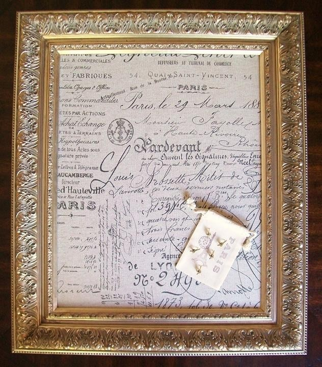 French script ready to ship bulletin board memo board for Linen cork board