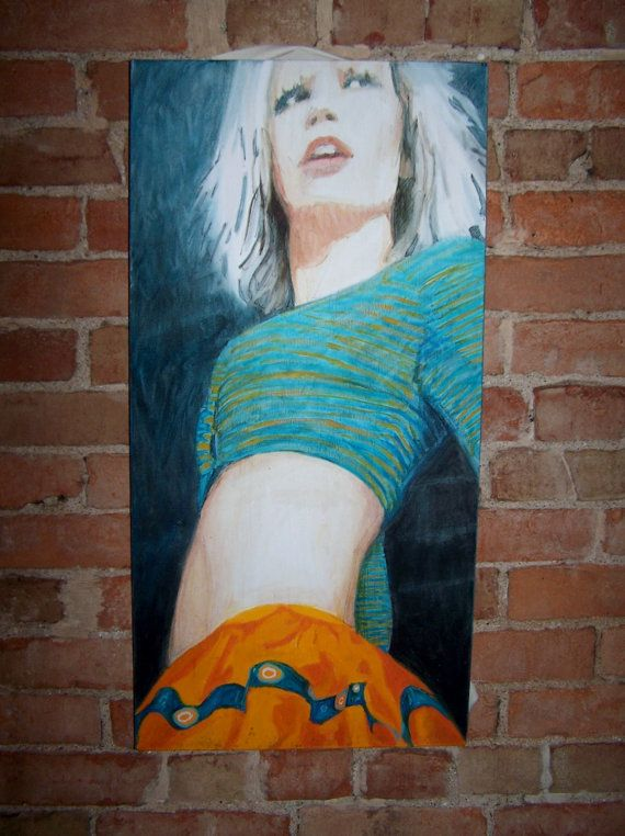 Vintage Unsigned Acrylic on Canvas Female by Artdecogirlshop, $120.00
