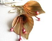 Golden Lily Earrings - Copper, Gold and Bronze dangle  Mixed Metal Statement Earrings - Metalwork Flower Jewelry