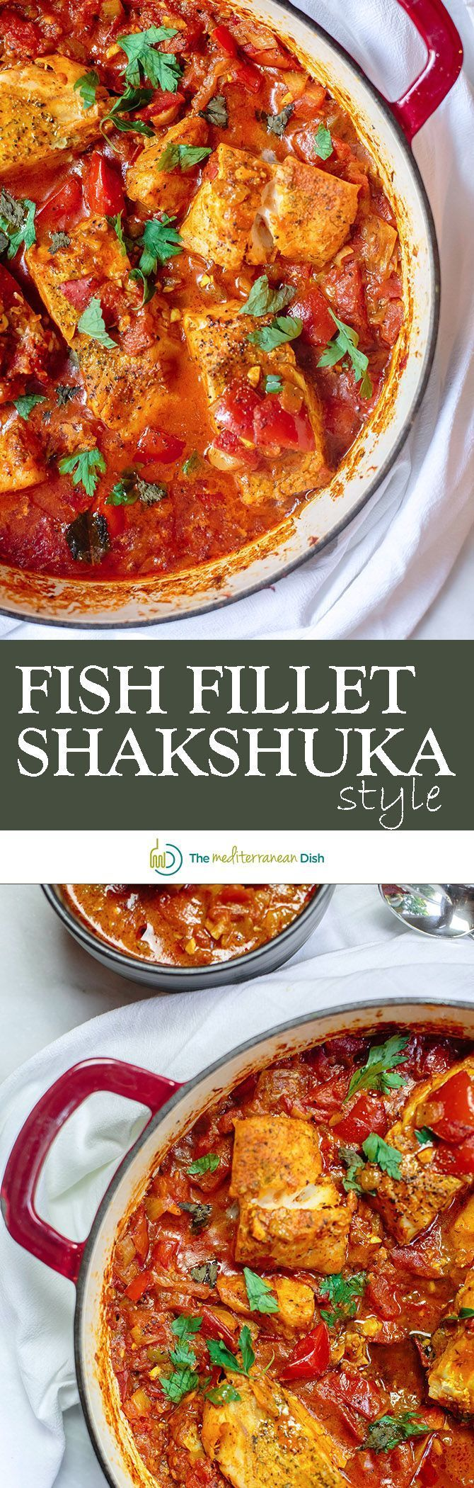 Mediterranean Fish Fillet Recipe Shakshuka Style | The Mediterranean Dish. A quick one-skillet cod fish fillet, flavored with Mediterranean spices and cooked in a bed of tomato sauce with onions, garlic and spicy Jalapeno peppers. Comes together in 30 min